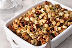 This homemade stuffing is cooked in the oven, not inside the bird, so it gets nice and crispy. And the fresh sage gives this recipe a yummy, autumnal flavor.