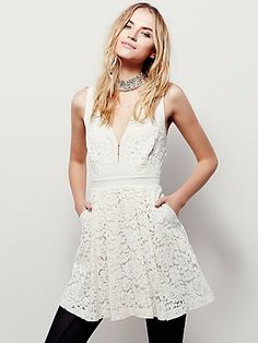 0af82bc6d74f Pure white lace sleeveless dress from Free People.