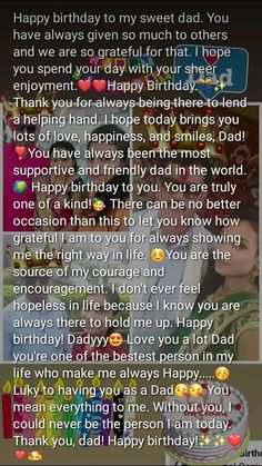 Cute Text Quotes, Dad Love Quotes, Inspirational Quotes Background, Best Lyrics Quotes, Good Thoughts Quotes, Pretty Quotes, Happy Birthday Best Friend Quotes, Happy Birthday Posters, Birthday Captions Instagram
