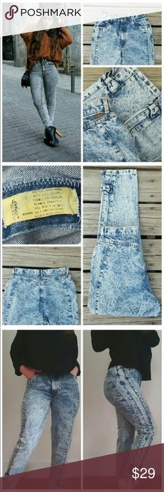 """Vintage Acid Washed Mom Jeans Vintage Chic acid washed denim jeans with cute ankle bows on each side ! 7/10 condition with faint discoloration or stains due to age and nature of the acid wash. The tag states size 15 but ABSOLUTELY make sure to refer to measurements before making a purchase !  Waist 15"""" rise 12"""" hip 20.5"""" thigh 12""""  inseam 28"""" **model on third photo is wearing actual jeans Vintage Jeans"""