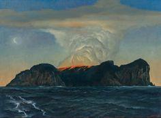The island on fire - Rick Amor, 2014 Australian, b.1948- Oil on canvas73 x 100 cm
