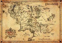 "Il Signore Degli Anelli Poster, Orizzontale, 67 x 47 cm ""Middle Earth Map"" Fantasy Map, Fantasy World, Watercolor World Map, Midle Earth, Middle Earth Map, Map Earth, Lotr Tattoo, Printable Poster, Poster Online"