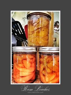 Over a year ago when I canned these rum peaches I judged them a failure. Good thing I saved them, age has been very good to the flavor.