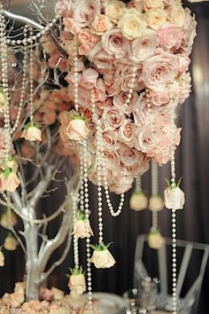 hanging flowers among the pearls