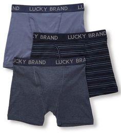 Lucky Brand Lucky 173PB06 Cotton Boxer Briefs - 3 Pack (Mood Indigo M)