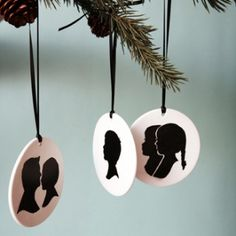The sweetest personalized silhouette keepsake ornaments from Le Papier Studio Noel Christmas, Christmas Wrapping, Christmas Tree Ornaments, Paper Ornaments, White Christmas, Christmas Decor, Diy Holiday Gifts, Holiday Gift Guide, Holiday Crafts