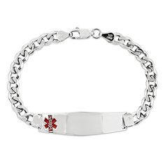 Sterling Silver Medical ID Curb Link Bracelet7 ** Want to know more, click on the image.