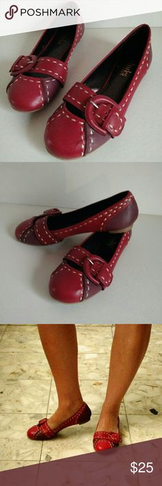Charles David genuine leather red  bicolor flats Red with eggplant purple accents. Leather. Worn once indooors. Charles David Shoes Flats & Loafers