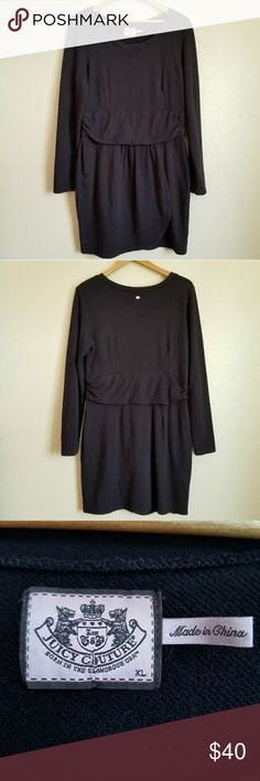 "juicy couture faux wrap sweatshirt dress XL Measurements lying flat:  Bust: 20"" Waist: 16"" Length: 36"" 100% cotton   -Smoke-free home -Excellent condition  -Reasonable offers welcome, but prices are firm on items under $10 -No trades, please  Thank you for shopping my closet, it means a lot to me! Juicy Couture Dresses"