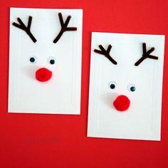 activité manuelle noel maternelle des bois de cure pipe marron nez pompon rouge des yeux mobiles sur papier blanc