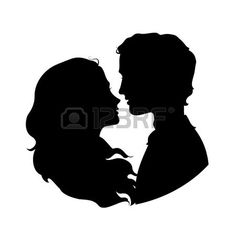 Silhouettes of loving couple.  photo