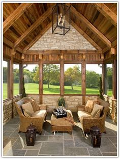 nice for a log home or lake house porch ~ Mare Barn Sun Rooms - traditional - porch - chicago - Avondale Custom Homes House, Home, House With Porch, Custom Homes, Decks And Porches, Porch Design, New Homes, Sunroom Designs, Cabin Porches