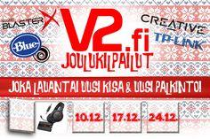 Vastaa ja voita äänikortti ja pelikuulokkeet. Kilpailu päättyy 10.12. klo 17:00. http://www.v2.fi/artikkelit/viihde/2052/V2fi-JOULUKISA-1--SoundBlasteria-taloon/