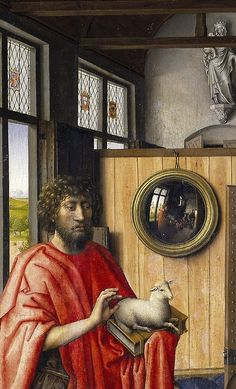 Robert Campin Saint John the Baptist and the Franciscan Heinrich von Werl 1438 (detail) European Paintings, Old Paintings, Beautiful Paintings, Contemporary Paintings, Medieval Art, Renaissance Art, Robert Campin, Saint John, Painting People