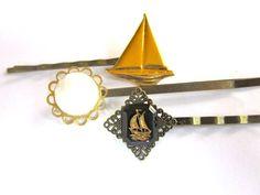 Nautical Sail Boat Hair Accessories Bobby Pins Set by PlumePretty, $14.00 #nautical #sail_boat #hair_accessories