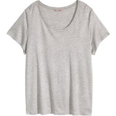H&M+ Jersey top ($13) ❤ liked on Polyvore featuring tops, shirts, tops/outerwear, light grey, plus size, short sleeve tops, h&m, plus size short sleeve tops, jersey knit tops and jersey shirts