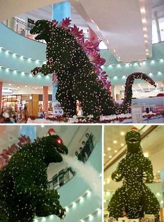 Godzilla shaped Christmas tree in Japan that even breathes smoke?! I want!