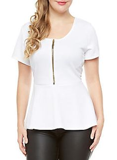 Plus Size Zip-Front High-Low Peplum Short Sleeve Top,WHITE