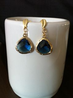 SALES  Faceted Montana Sapphire Glass Stone Dangle by SwamiJewelry, $23.00