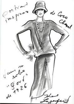 """Reproduccion del primer vestidito negro hecho por Chanel para la revista Vogue en 1926. EN la revista aparace como el """"Ford de Chanel"""" por su simplicidad y su color.  Dibujo por Karl Lagerfeld"""