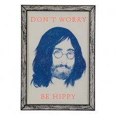 Affiche Don't worry be hippy 29,7x42 cm Bleu  THE prints by Marke Newton