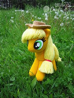 Applejack from My Little Pony pattern by Milla Craft Crochet Pony, Slip Stitch Crochet, Crochet Unicorn, Single Crochet Stitch, Crochet Patterns Amigurumi, Cute Crochet, Amigurumi Doll, Crochet Dolls, Crochet Yarn