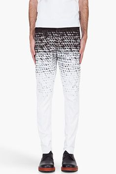 Ann Demeulemeester White Dyed Dot Print Trousers for men | SSENSE