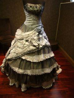 Black and White Wedding Dress Vintage Goth by WeddingDressFantasy, $769.00