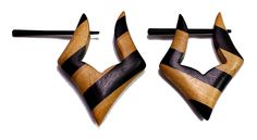 (sku no:Sew_65) A Pair of Brown Black Strap Design Coco Wooden Boho Hippie Earrings Sew_65.please visit our website www.krishnamartindia.com