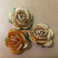 Ranger Ink's MELT ART MANIA!!! paper flowers dipped in a melting pot with UTEE then set to harden