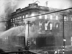 Fire at Ballantyne's department store, Christchurch, 18 November Shows both of the upper stories ablaze, and fireman using fire hoses. South Pacific, Pacific Ocean, Christchurch New Zealand, State Of Arizona, Old Skool, Department Store, Fire, Black And White, World