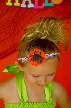Halloween Party Orange Pumpkin Black Skull Bat Spider Bling Headband Costume