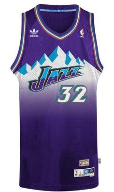 "Amazon.com : Karl Malone Utah Jazz Adidas NBA Throwback Swingman ""Mountains"" Jersey - Purple : Sports & Outdoors"