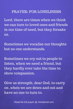 A Prayer in Times of Loneliness and Depression