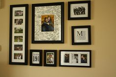 great idea on how to display wedding pictures + white frame as guestbook