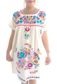 110 Pea Handmade Mexican Embroidered Pure Cotton Dress Embroidery Fl