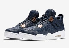 """Air Jordan 4 Premium """"Obsidian"""" will release on September 17th for $400 USD featuring a quilted leather upper & waxed laces"""