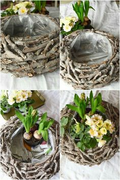 DIY spring decoration yourself make spring decoration for table. Deco idea with basket Ch . DIY spring decoration yourself make spring decoration for table. Deco idea with basket Christmas roses Hyacinths primrose moss and natural decoration . Garden Art, Garden Design, Garden Ideas, Diy Garden, Garden Table, Decoration Plante, Basket Decoration, Deco Nature, Christmas Baskets