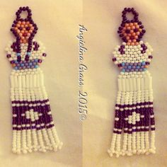 beaded Cherokee Tear Dress earrings (front & back view); brick stitch & fringe stitch with size 11 seed beads.