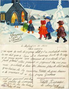 Joyeux Noël - Enfants arrivant à l'église aux vitraux colorés, leur missel à la main - 1933 (from http://mercipourlacarte.com/picture?/260) Éditeur Amag