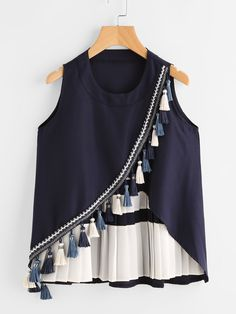 Shop Contrast Panel Tassel Trim Overlap Tank Top online. SheIn offers Contrast Panel Tassel Trim Overlap Tank Top & more to fit your fashionable needs.