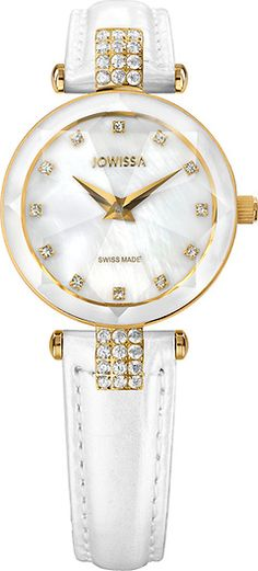 Facet Strass Gold/Mother-of-pearl 25 mm Ladies' Watch Leather White Ladies Watches, Bracelet Watch, Collections, Pearls, Lady, Gold, Leather, Accessories, Jewelry