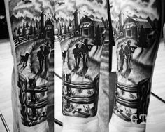 Grey-scaled Family Tattoo. This gray-scaled family tattoo is awesome to get. Realistic yet memorable.