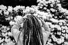 Black and white #dreadlocks #flowers