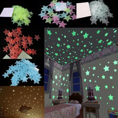 US $1.39 -- AliExpress.com Product - 100pcs 3cm diameter 3D Stars Glow In The Dark Luminous Fluorescent Plastic Wall Stickers Home Decor Decals 5 Color Choose