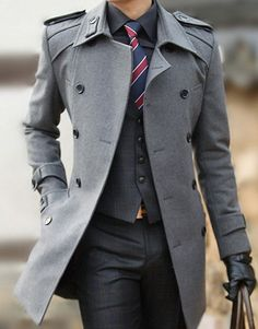 Overcoat work perfectly with pants and vest. Winter is coming. Such a great look. For more awesome men's style follow my tumblr at EverybodyLovesSuits