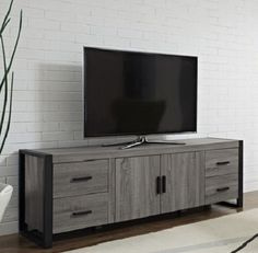"70"" Grey Wood Rustic Tv Stand Storage Entertainment Center Reclaimed Design Gray"