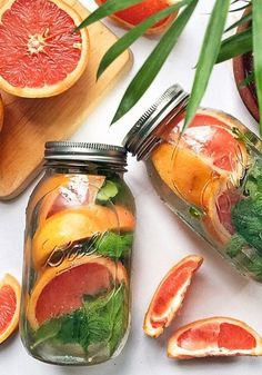 Refresh your body with a Grapefruit and Mint Detox Water recipe.
