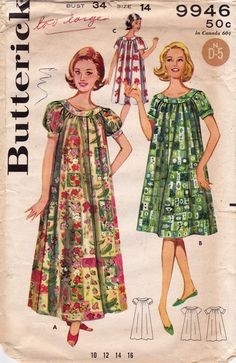 69f5d0356826 Butterick 9946 Misses Muu Muu Dress Vintage Sewing Pattern, 1950s Shallow  Neck BOHO House Dress Pattern, Size 10, Bust 31, Partly Cut