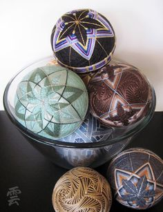 Japanese Temari by Kumo on Etsy. Each temari contains a small paper box with a quote or phrase inside and small brass rings to make a calming sound when shaken. $36 These are just BEAUTIFUL!
